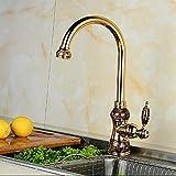 Bad Wasserhahn Jade und Gold Küchenarmatur heißen und kalten Gemüsetopf rotierenden Mischer...