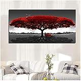 JinYiGlobal Leinwanddruck Wandkunst Bild Moderne rote Baumbank Landschaftsbilder fr Wohnzimmer...
