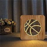 Sproud 3D Holztischlampe   Basketball 3D Tischleuchte   USB Led Nachtlicht   Dekorative Tischlampe...