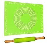 Teigroller mit Backmatte Silikon Groß Grün | Antihaft - BPA frei | Leichtes Ausrollen | Nudelholz...