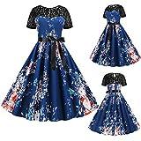 Vimoli Kleider Damen Spitzenkleid Rundhalsausschnitt Kurzarm Rockabilly Kleid Cocktail Abendkleide...