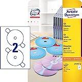AVERY Zweckform L7676-25 selbstklebende CD-Etiketten (blickdichte CD-Aufkleber,  117 mm SuperSize,...