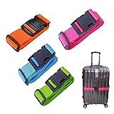 4 Stück Koffergurt Travel Accessories, Gepäckgurt Einstellbare Kofferband Koffer Gepäckgurte zum...