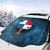 MoonW Auto Windschutzscheibe Schneedecke Baum des Lebens mit Panama Flagge Frostschutzfolie,...