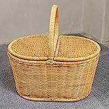 CJH Picknick-Körbe mit Deckel im freien kreative Einkaufskorb Flip Essen Aufbewahrungskorb Bambus...