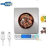 Küchenwaage Digitale mit USB Aufladen, Haushaltswaage 0.1g/3kg,Hohe Präzision Edelstahl...