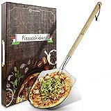 SQUALIPRODU Pizzaschieber - Pizzaschaufel aus rostfreiem Edelstahl und Pappelholz - stabiles Gewinde...