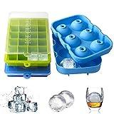 rabofly 2 Stück Eiswürfelform und 1 Stück Eiskugelform, Silikon Eiswuerfel Mit Deckel BPA Frei...
