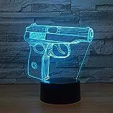 Eine spielzeugpistole form 3d luz de noche touch schalter 16 farbwechsel baby schlaf licht für...