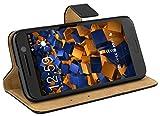 mumbi Echt Leder Bookstyle Case kompatibel mit HTC 10 Hülle Leder Tasche Case Wallet, schwarz