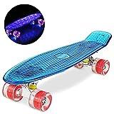 WeSkate Skateboard 22' Polycarbonat Kunstsoff Cruiser Pro Street Skate Board mit LED Blinkt...