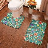 GFHIGFKJ Christmas Pattern U-Shaped and Rectangular Pad 2 Pieces Set Antiskid Bathroom Toilet Rugs...