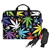 Emoya Laptop-Tasche/Laptoptasche/Laptoptasche/Aktentasche, bunt, Marihuana-Blätter, 33-14 cm