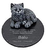 Tiefes Kunsthandwerk Gedenkstein Katze für Dein Haustier, mit Wunschtext als Gravur, wunderschöne...