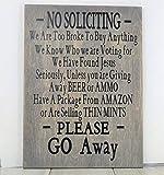 """SIGNS Schilder """"No Solicitinging"""", lustige Holzschilder, lustige Veranda, lustiger Rennfan,..."""