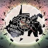 US-Bundesstaat Karte Uhr West Virginia Great Seal Wanduhr Ton Montini Sunbury Libery Vinyl Wanduhr