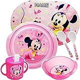 alles-meine.de GmbH 5 TLG. Geschirrset - Disney - Minnie Mouse - inkl. Name - BPA frei - Trinktasse...