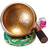Groe Original Tibetische Klangschale - 13cm. Klangschalen Set mit Klppel und Klangschalenkissen in...