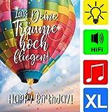 bentino Geburtstagskarte XL mit Musik und LICHT-Effekt, DIN A4 Set mit Umschlag, romantische...