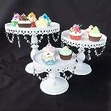 WDVVPepy 3Teile/Satz Kuchen Weiß Tortenständer Set Cupcake Halter Anzeige Platte w/Kristall Decor...