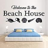 Willkommen zu Hause Wandtattoo Beach Shell Home Dekoration Marine Wohnzimmer Vinyl wasserdicht...