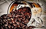 Zopix Poster Kaffeebohnen Kaffee Glas Koffein Wandbild - Premium (70x50 cm, versch. Größen) - 190g...