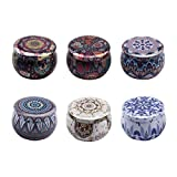 WANDIC Kerzendose, 6 Stück, gemischte Farben, Leere Wiederverwendbare Dosenbecher mit Deckel, DIY...