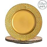 Argon Tableware Platzteller - rund - gehmmerte Optik - Goldfarben - 330 mm - 12 Stck