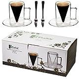 Spikey 2X 70ml doppelwandige Spitzglas-Tassen gerade + 2 SPITZLÖFFEL 18/10 - Tassen mit Henkel und...