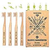 Nature Nerds - Kleine Bambus Zahnbürste für Kinder im Set (4er Pack) aus nachhaltig angebauten...