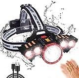SHISOU LED Stirnlampe USB, Scheinwerfer USB Wiederaufladbar 4 Modi Der Helligkeitsreduzierung 2000...