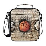 Lupinz Lunchtasche mit Basketball-Baseball-Baseball-Fußball, eingebettet in Backstein-Brot-Tasche,...