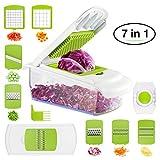 BHY Gemüseschneider, 7 in 1 Gemüsehobel, Multischneider Küche Kartoffelschneider, Reibe und Hobel...