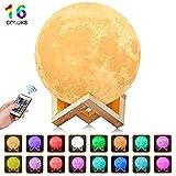 AGM Mond Lampe, Dimmbar LED Mond 16 Farben Remote & Touch Control Nachtlicht Stimmungslicht 15cm 3D...