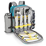 Goods & Gadgets Picknick-Rucksack für 4 Personen - Picknicktasche mit Picknick-Decke, Besteck,...