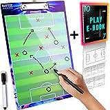 BAYTIZ- Fußball Taktiktafel + Läschbarer Stift + Spielfeldvorlagen - Fussball Taktikmappe für...
