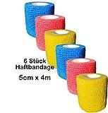 6 Stück Bandage elastische selbsthaftende Haftbandage 5 cm x 4 m