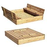 Sandkasten Sandbox Sandkiste mit Klappdeckel Sitzbnken 120x120x20 Kiefernholz mit Anti-Unkraut...