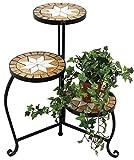 DanDiBo Blumentreppe Mosaik Rund 55 cm Blumenregal 12020 Beistelltisch Pflanzenständer Mosaiktisch...