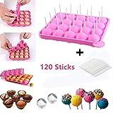 LIDOFIGO Cake Pop Backform -20 Runde BPA-Frei Lollipop Silikonform Form & Ice Cube Tabletts + 120...
