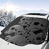 Auto Front Windshield Shade hält Ihr Auto kühler -Skull Sunshade Front Window Cover,Schnee...