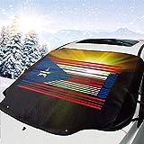 MoonW Auto Windschutzscheibe Schneedecke Puerto Rico Barcode Flagge Frostschutzfolie, Eisdecke, Auto...