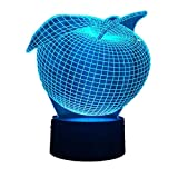 KangYD Kreative Apple 3D Nachtlicht, LED Atmosphrenlampe, Home Decor Lampe, Acryl, Optische Tuschung...
