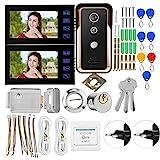 Taidda 7-Zoll-Video-Gegensprechanlage, 2-Monitor-RFID-IR-Kamera 7-Zoll-Video-Gegensprechanlage mit...