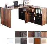 RICOO Schreibtisch WM081-EC Holz braun Eiche Canyon | Winkelkombination Arbeitstisch Computer Tische...