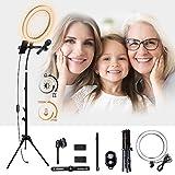 K&F Concept Ringlicht, 10 Zoll LED Ringleuchte Set, Dimmbare Selfie Licht mit Bluetooth-Empfänger...