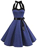 DRESSTELLS Neckholder Rockabilly 1950er Polka Dots Punkte Vintage Retro Cocktailkleid Petticoat...