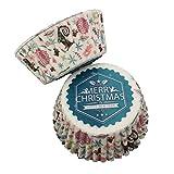 Ototon Cupcake aus Papier Muffinform Einweg-Muffinförmchen Wrapper Merry Christmas Dekoration für...