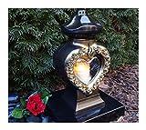 GRABLAMPE Herz incl. LED-Grablicht 28,0cm GRABSCHMUCK GRABLATERNE GRABLEUCHTE Laterne Kerze LICHT...