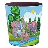 Batop Papierkorb Kinder, 10L Wasserdicht PU Leder Papierkorb Kinderzimmer mit Cartoon Elefant Motif...